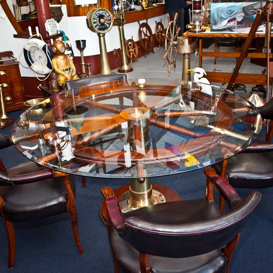 Ship S Wheel Dining Table With Officer S Chairs