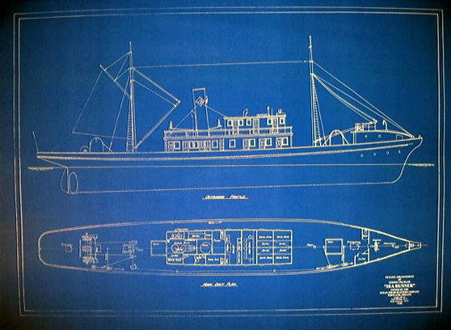 Vintage West Coast Tuna Boat 1918 Blueprint Plan - SeaJunk